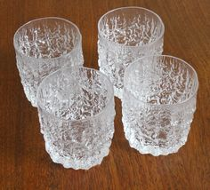 Set of 4 Large Whiskey Tumblers from 60s / 70s    Original Glasses from Whitefriars Everest    Design/Style : Glacier Bark  Material: Chrystal  Buy this beautiful vintage glasses    29.- each or 99.- for all (Pounds)