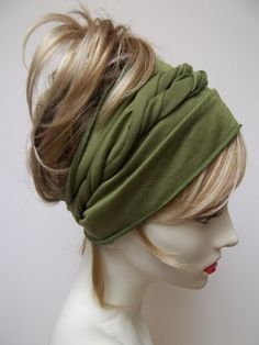 Yoga Hair Wrap Bright Olive Green Rayon Work Out by NinisNiche, $22.00