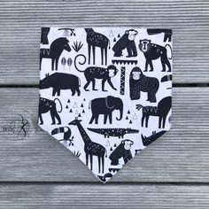 Baby Toddler Bibdana // Safari Animals in Black // Drool Dribble Bib // Infant Bibdana // Organic Bamboo Terry // Monochrome Bib Light Colors, Colours, Bamboo Rayon, Dribble Bibs, Safari Animals, Baby Essentials, Baby Bibs, Baby Shower Gifts, Monochrome