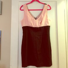 New Forever21 two tone dress. Size large. New forever21 two tone pink/black mini dress. Zip up detail in back. Perfect going out dress. New excellent condition. Never worn (just ripped off tags) size large. Perfect for someone who needs more room on top! It's big on top chest area! Selling for cheap this is a steal! Tight and booties perfect outfit! Forever 21 Dresses Mini