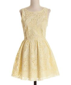 Look what I found on #zulily! Pale Yellow Lace Dress by Coveted Clothing #zulilyfinds