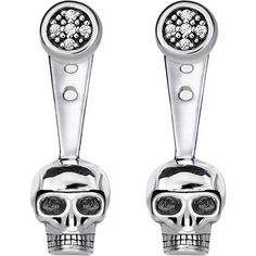 Thomas Sabo Rebel at Heart skull sterling silver diamond ear jackets ($155) ❤ liked on Polyvore featuring jewelry, earrings, skull stud earrings, pave earrings, diamond earrings, stud earrings and skull earrings