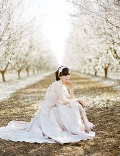 love this portrait in an almond orchard