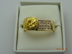 Gold Pre Loved 18ct Solid Yellow Gold Gents Gold Nugget & 15Diamond Band 20.6grm | eBay