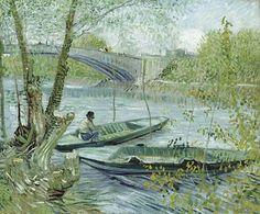 """""""Pescador y barcas junto al puente de Clichy"""""""