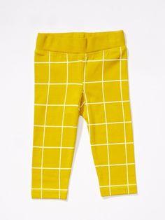 Grid leggings, yellow