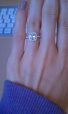 Love the setting on this engagement ring. Much more delicate than the usual halo ones. And a more rectangular cushion. Cushion Cut Halo Ring, Cushion Cut Engagement, Engagement Ring Cuts, Diamond Engagement Rings, Solitaire Diamond, Diamond Rings, Wedding Ring Bands, Wedding Jewelry, Most Beautiful Engagement Rings