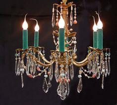 Custom 1 de nature ! LUSTRE en Bronze 6 espagnol Vintage lumière 18 « x 24 » avec des cristaux bleus TURQUOISE, saumon rose corail & perles,
