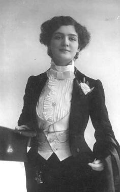 edwardian drag FTW (lily elsie, edwardian actress) Really delightful contrast between femininity and masculine tailoring.