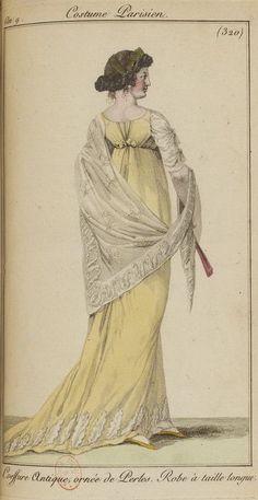 1789-1815 La Mode en 1801 Fashion History, Fashion Art, Ball Dresses, Ball Gowns, Yellow Ballgown, 1800s Dresses, 1800s Fashion, Historical Women, French Empire