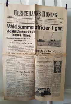 Annons på Tradera: Ulricehamns Tidning den 11 april 1940 - Mycket gott skick!