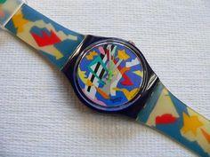 Orologio Swatch Vintage Silver Patch GN132, firmato da Ugo Nespolo nel 1993.