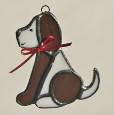 Brown and White Stained Glass Dog Christmas Holidays Ornament
