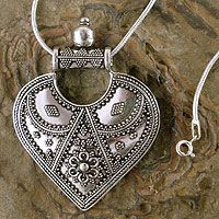 'Mighty Heart' sterling silver pendant