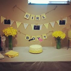 yellow and gray owl Gender Reveal Party | Grey & yellow gender reveal party.
