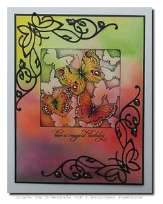 'Mir'acle Art Inspirations: Butterflies and Dragonflies from Chocolate Baroque. Baroque Design, Butterfly Cards, Card Maker, Art Journal Inspiration, Beautiful Butterflies, Paper Cards, Dragonflies, Making Ideas, Birthday Cards
