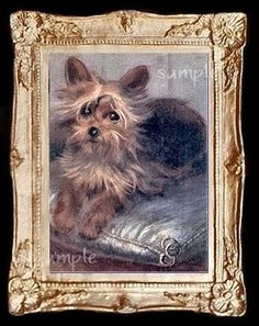 Yorkshire Dog Miniature Dollhouse Yorkie Art Picture 4159
