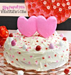 """Think pink for Valentine's Day! Peep of Pink Cake is a fast & easy way to shower your """"peeps"""" with sweet love! At littlemisscelebration.com"""