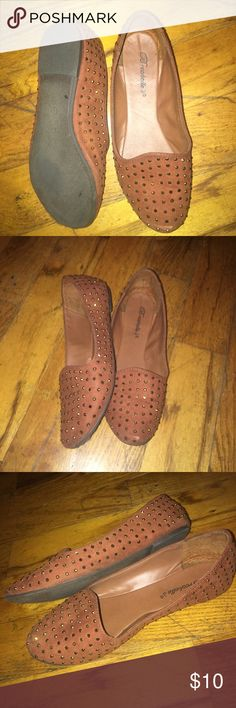Chestnut Colored Flats A pair of cute, chestnut colored slip on flats, that are accented with rhinestones. They have only been worn a handful of times Shoes Flats & Loafers