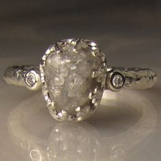 Raw Diamond Engagement Ring Recycled Sterling by artifactum