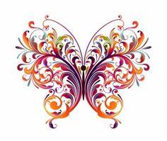 Abstract floral da borboleta gráfico de vetor
