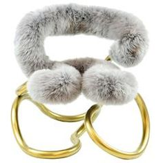 Just plain cool. K. Railing Stool R3 in Stainless Steel with Mongolian Sheep Fur Upholsted