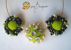 Green jewellery set / Felt and crochet set / Green felt set / Felt jewellry set / Necklace and ring set / Bead embroidery set