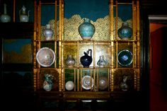 Pottery in the Peacock Room, designed by James Whistler, at the Freer Gallery in Washington, DC by ellen  x silverberg, via Flickr