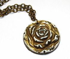 Vintage Celluloid Rose Pendant Necklace on Brass Chain Links Gold Gilt Old 1920s | eBay #ecochic #teamlove