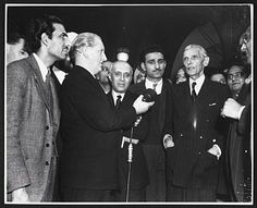 Jawaharlal Nehru, leader of the Indian National Congress, and Muhammad Ali Jinnah, leader of the All-India Muslim League, at a reception in India House, London, 6 December 1946.