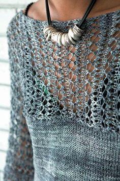"""Sommerleichter One-Pice-Knitting Pulli """"Avery"""" nach einer Anleitung von Norah Gaughan - als freier Download (engl)"""