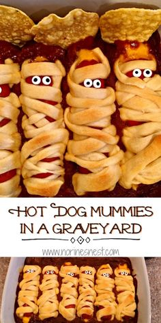 All Beef Hot Dogs stuffed with cheddar cheese, wrapped in crescent dough and laid to rest on a bed of chili! A quick, easy, tasty, and fun family Halloween dinner! Halloween Dinner, Halloween Hotdogs, Healthy Halloween, Halloween Food For Party, Halloween Desserts, Halloween Treats, Family Halloween, Halloween Foods, Halloween Cakes