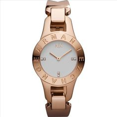 AX Armani Exchange 'Smart' Logo Bezel Watch by debora Armani Rose Gold Watch, Armani Watches For Women, Latest Watches, Rose Gold Watches, Elegant Watches, Rose Gold Jewelry, Stainless Steel Bracelet, Bracelet Watch, Jewelry Watches