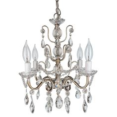 """- Dimensions: 13.5"""" (Length) X 13.5"""" (Width) X 14"""" (Height) - Authentic K9 glass crystal dangles and beads (Not plastic or acrylic) - 4 Lights, UL-Listed (Uses 25 Watt E12 light bulbs; compatible with"""