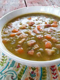 Classic split pea soup with ham perfect for using leftover ham or ham bones!