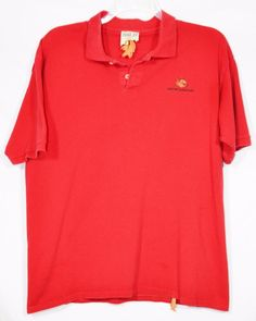 PIRANA JOE Mens Red Polo Shirt XL Short Sleeves Nassau Bahamas 100% Cotton #PiranaJoe #PoloRugby