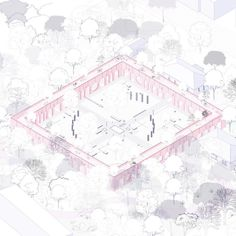 A competition entry, awarded with the prize, for the redesign of an ex-military camp into a park in the city of Karditsa, Greece. Architecture Tools, Colour Architecture, Architecture Graphics, Architecture Drawings, Landscape Architecture, Landscape Diagram, Axonometric Drawing, Urban Design Diagram, New Project Ideas