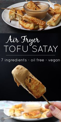 Tofu Satay cooks up incredibly quickly in the air fryer. It's perfect dipped in my quick-and-easy, blender peanut sauce. Serve it as an appetizer or entree! #sponsored #tofu #appetizers #vegan