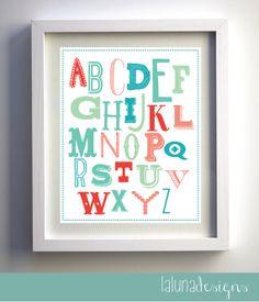 Alphabet Nursery Wall Art - ABCs Nursery Wall Art - Customizable Colors