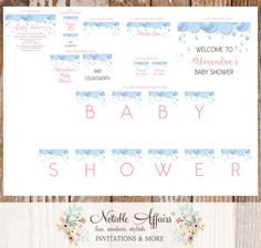 Pink Blue Watercolor Rain Clouds Rain Drops Baby Sprinkle Baby Shower Party Package - includes invitation toppers tags signs and more by NotableAffairs