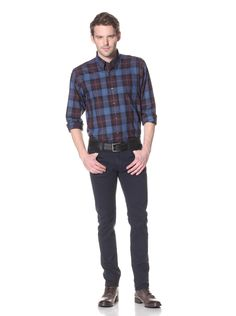 4c9278efeb2 Alex Cannon Men s Jewel Tones Plaid Sport Shirt (Cobalt) Relaxed fit plaid  twill with button-down collar and patch pocket