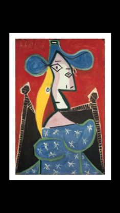 Pablo Picasso - Femme assise à la robe d'étoiles, 4 VI 1939 - Oil on canvas - 81 x 54 cm (..) Pablo Picasso, Creative Icon, Painting & Drawing, Art Boards, Spain, My Arts, Portrait, Drawings, Dora Maar