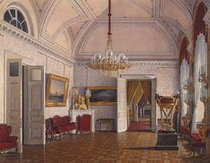 Interiors of the Winter Palace. The Third Reserved Apartment. Room 4 - Edward Petrovich Hau - Drawings, Prints and Painting from Hermitage Museum