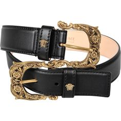 Versace Double Belt (24,070 PHP) ❤ liked on Polyvore featuring accessories, belts, double-buckle belts, 2 buckle belt, two buckle belt, versace and versace belt
