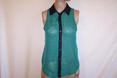 MATERIAL GIRL Shirt Top Blouse Small Sexy Open Back Sleeveless Sheer Green Black #MaterialGirl #ButtonDownShirt #Casual