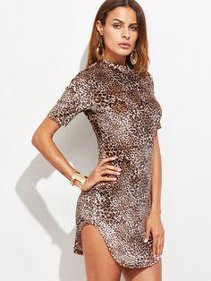 #AdoreWe #SheIn Dresses - SheIn Brown Leopard Print Curved Hem Bodycon Dress - AdoreWe.com