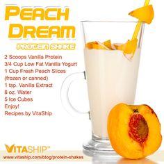 Peach Dream Protein Shake Recipe #weightloss #proteinshakes #recipes #diet