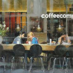 Coffee date | oil on linen painting by Richard van Mensvoort