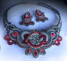 Grey and Red soutache set by caricatalia