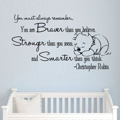 Winnie the Pooh Vinyl Sticker Christopher Robin Wall Decals Quotes Nursery SM160